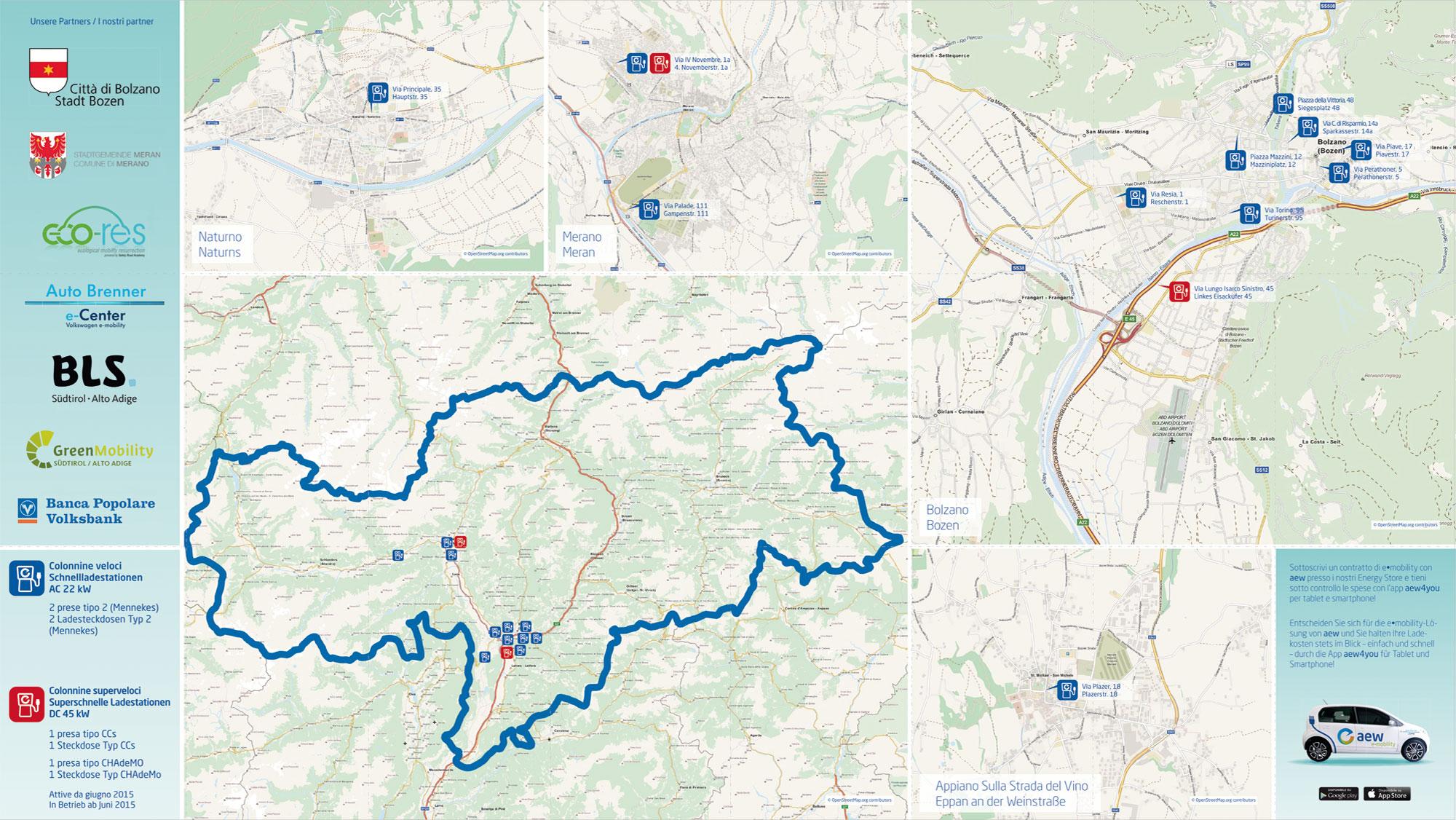 AEW Servizi Energetici Bolzano Mappa Tascabile