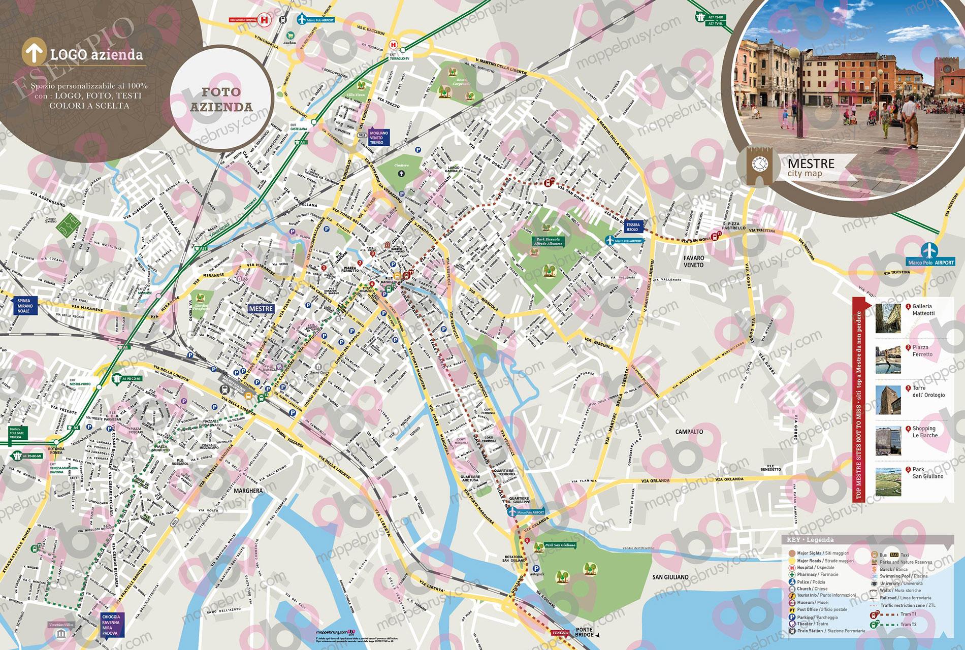 Cartina Stradale Firenze Centro.Mappa Di Mestre Cartina Del Centro Storico Di Mestre