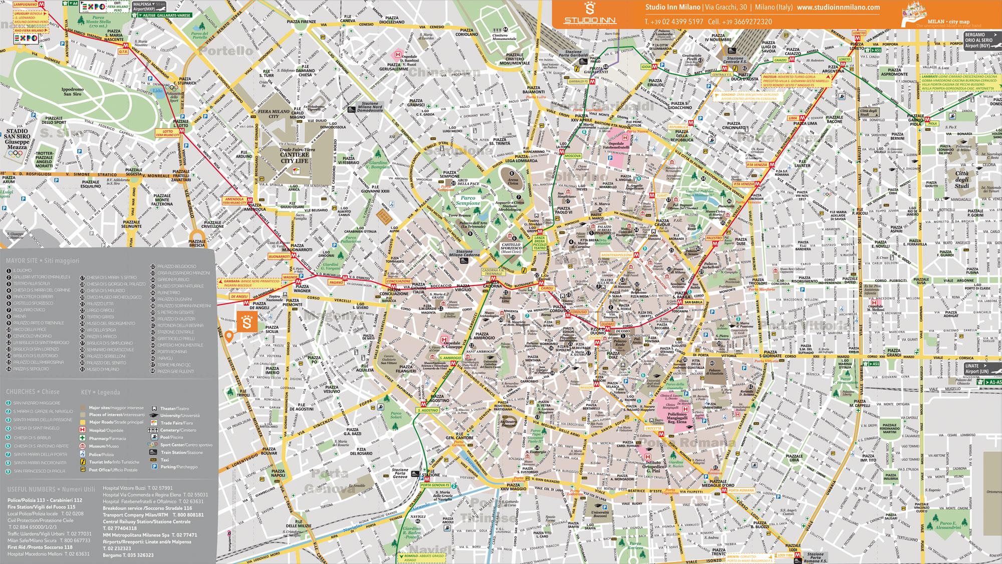 Studio Inn Appartamenti Mappa Tascabile Milano