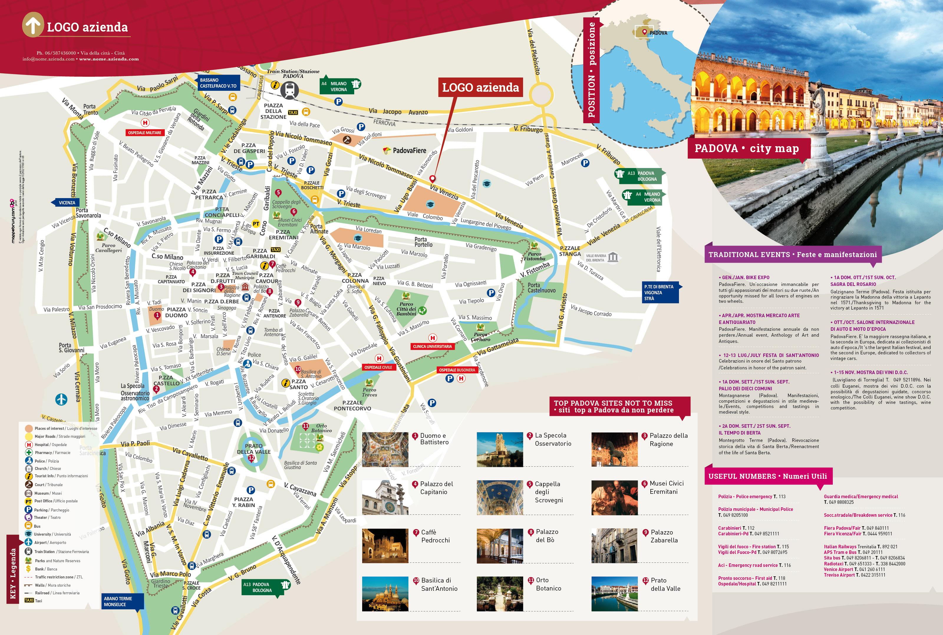 Cartina Di Firenze Con Tutte Le Vie.Mappa Di Padova Cartina Del Centro Di Padova Personalizzata