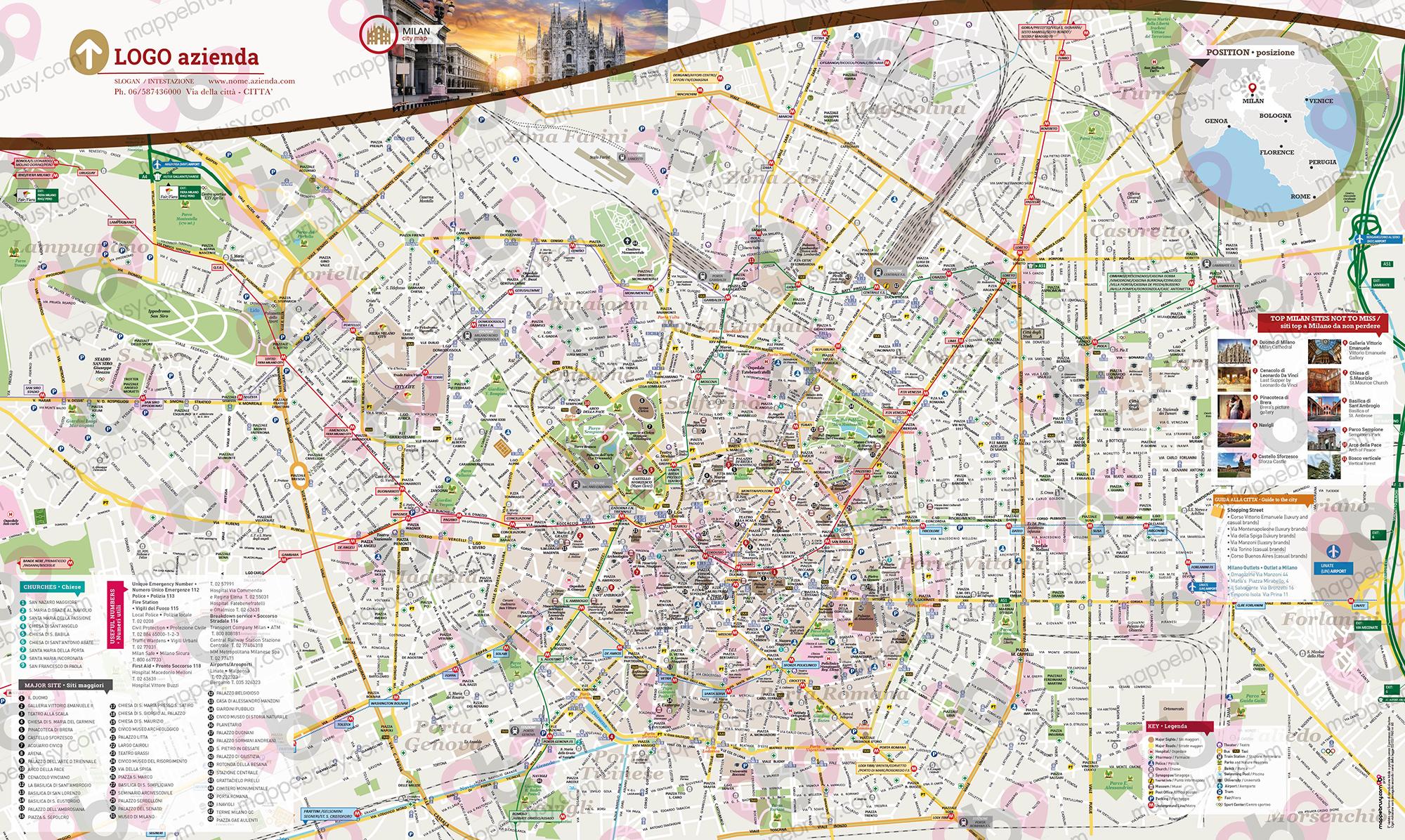Mappa E Cartina Di Sardegna.Mappa Di Milano Cartina Del Centro Storico Di Milano Personalizzata