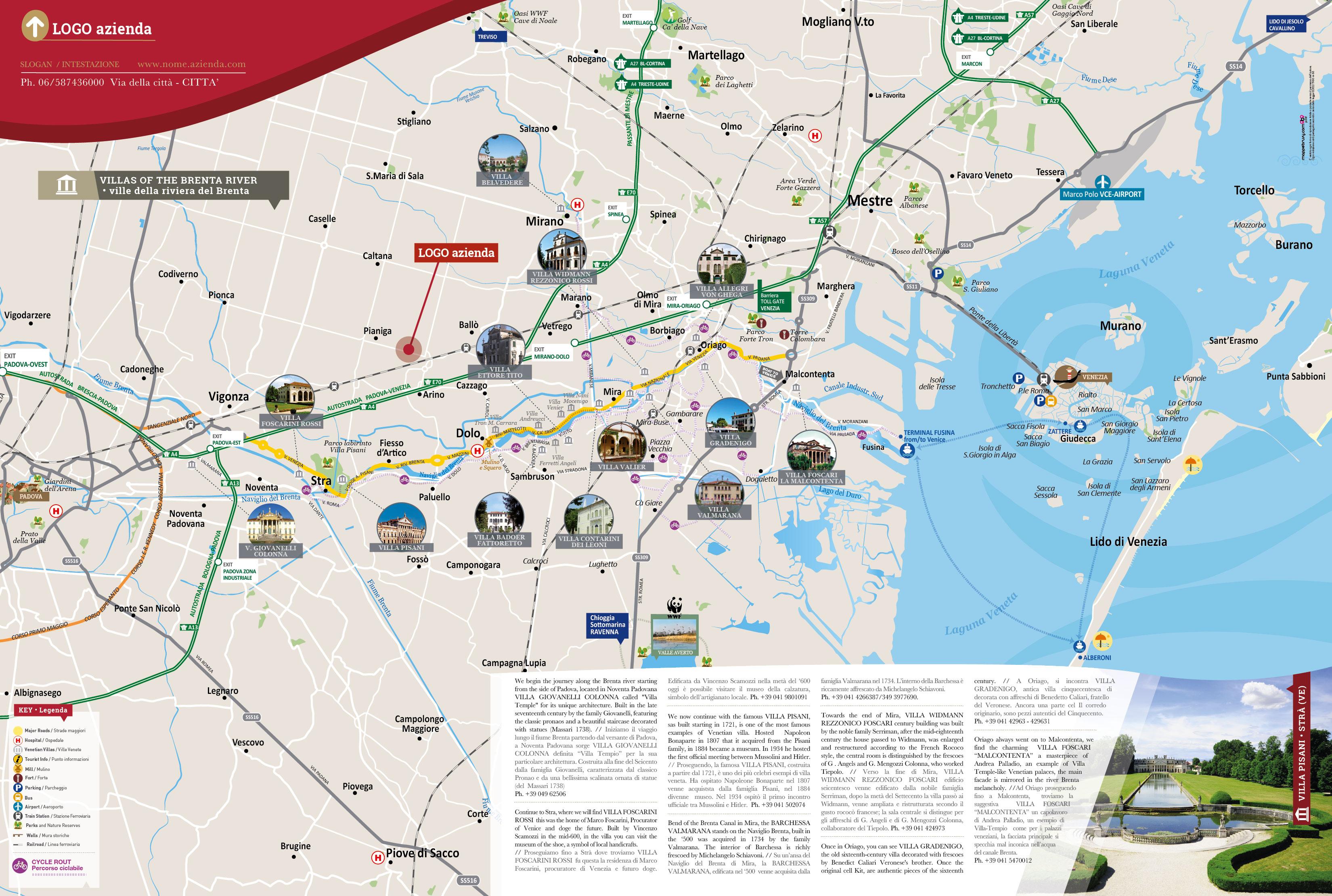 Cartina Della Sicilia Turistica.Mappa Della Riviera Del Brenta Cartina Personalizzata