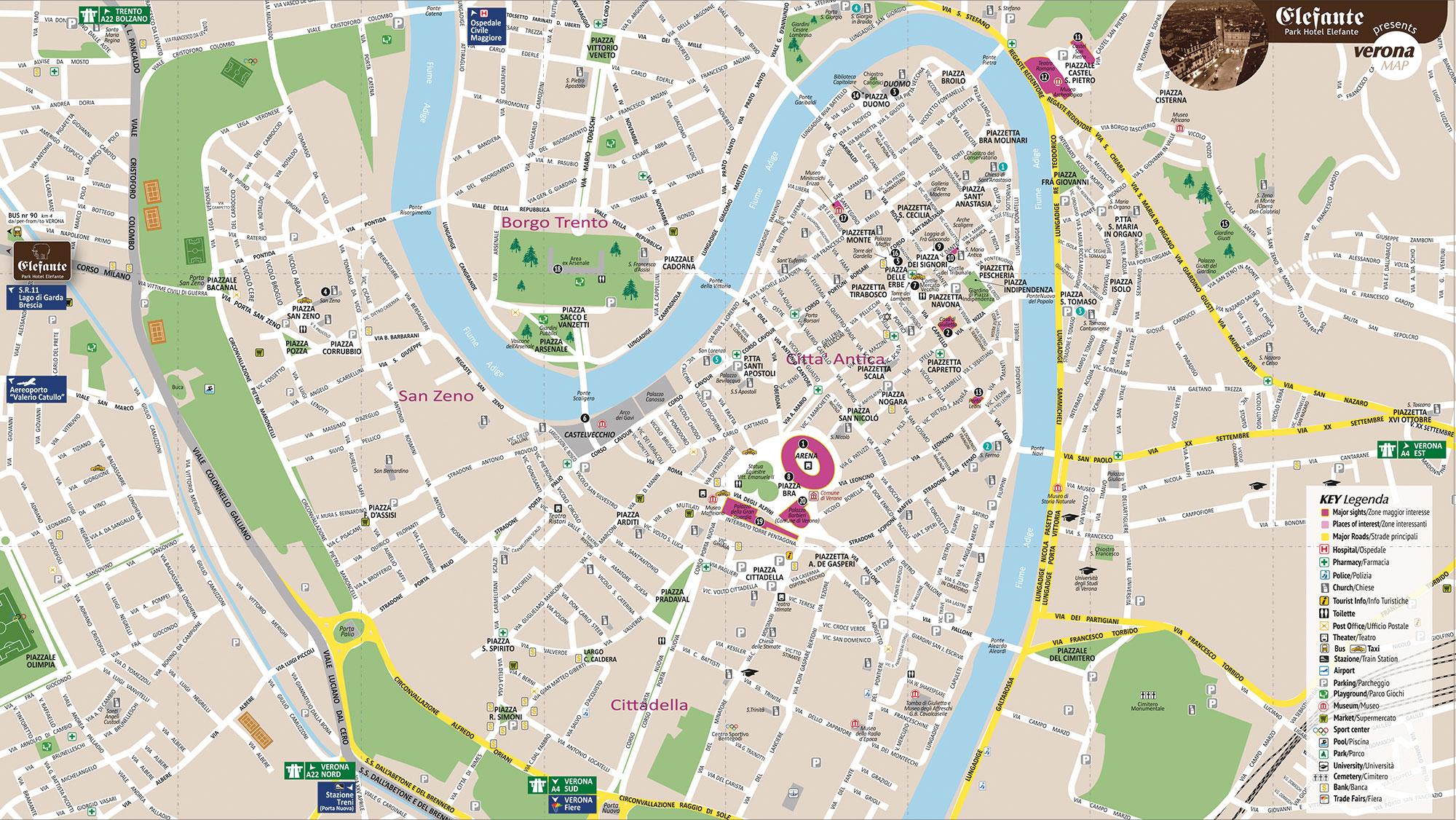 Elefante Mappa Brusy Personalizzata Mappa Di Verona