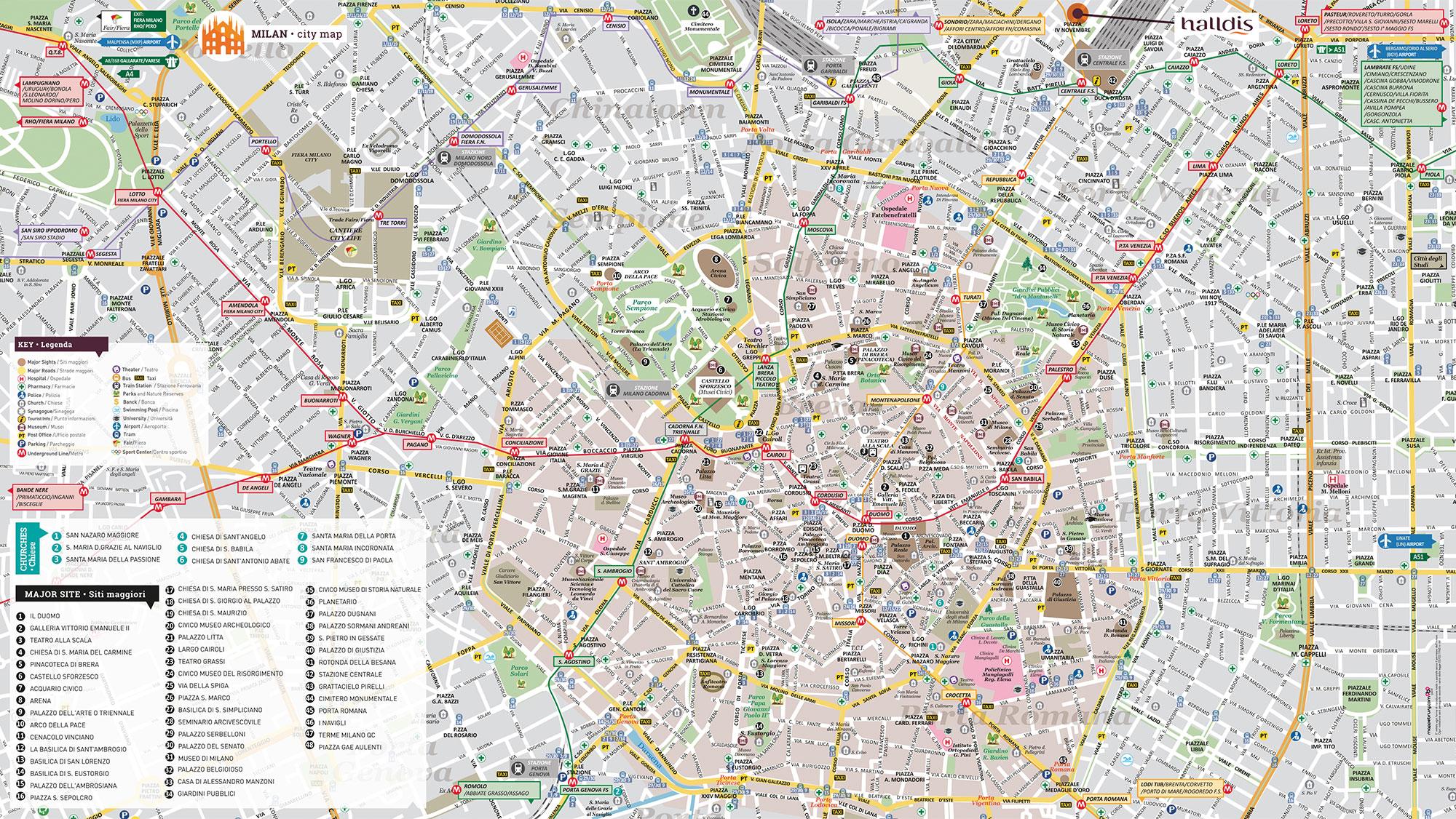 Halldis milano mappa brusy personalizzata mappa di milano for Vie di milano