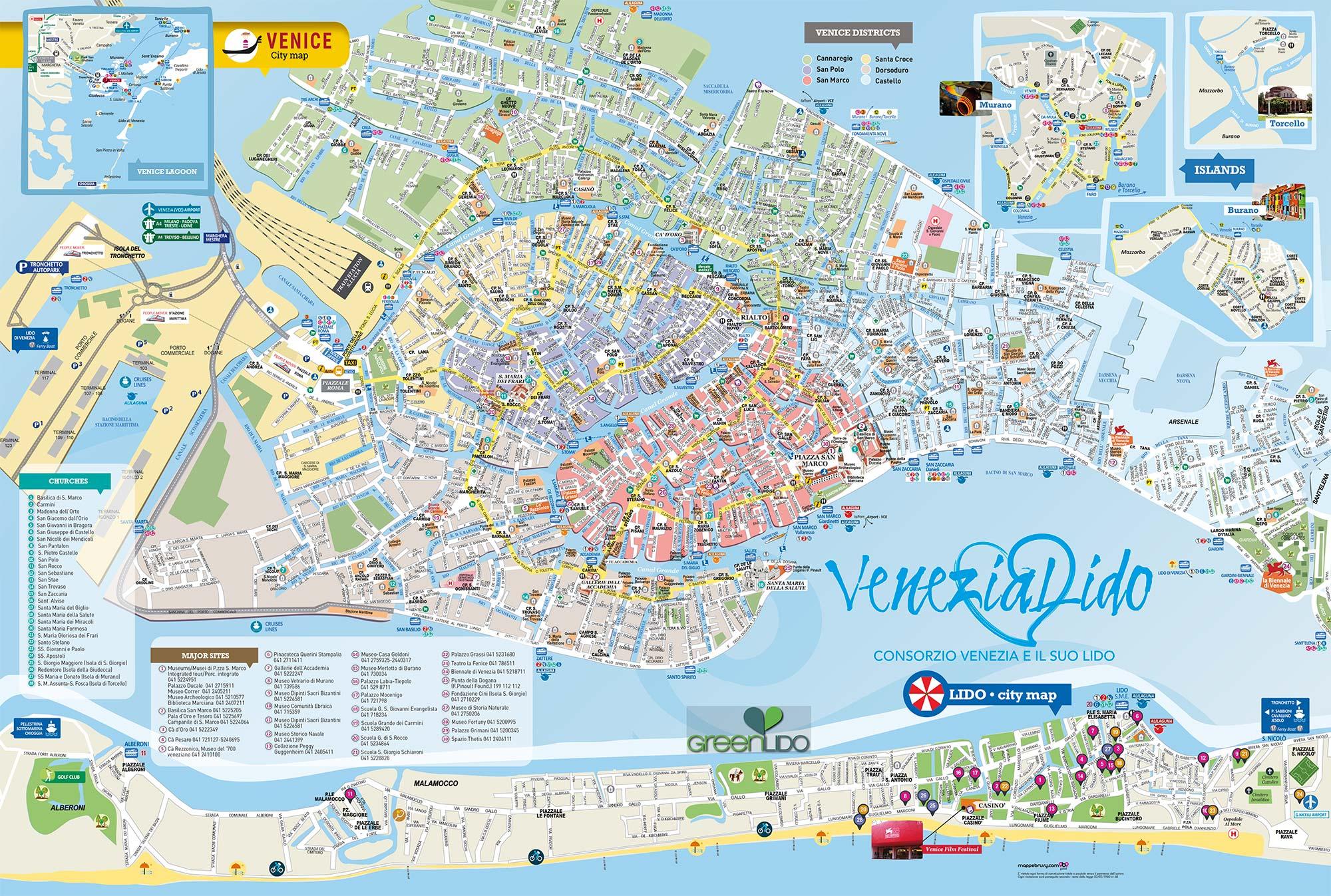Cartina Venezia Lido.Venezia E Il Suo Lido Brusy Personalizzata Mappa Liscia Di
