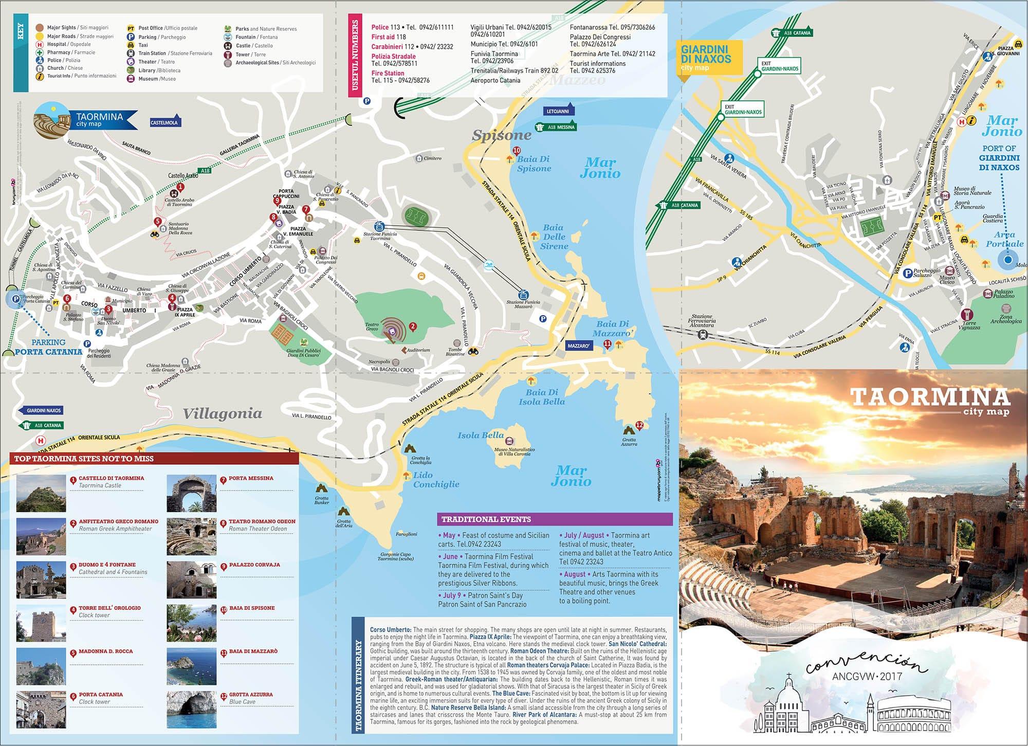 Cartina Geografica Sicilia Taormina.Abercrombie Brusy Personalizzata Mappa A3 Di Taormina E