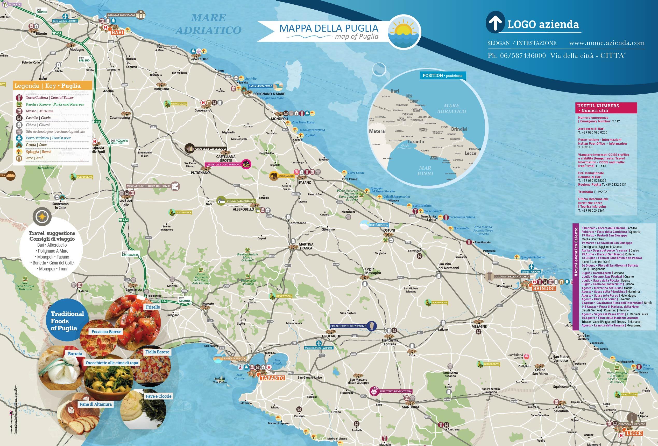 Cartina Della Puglia.Mappa Territorio Puglia Cartina Territorio Puglia Personalizzata