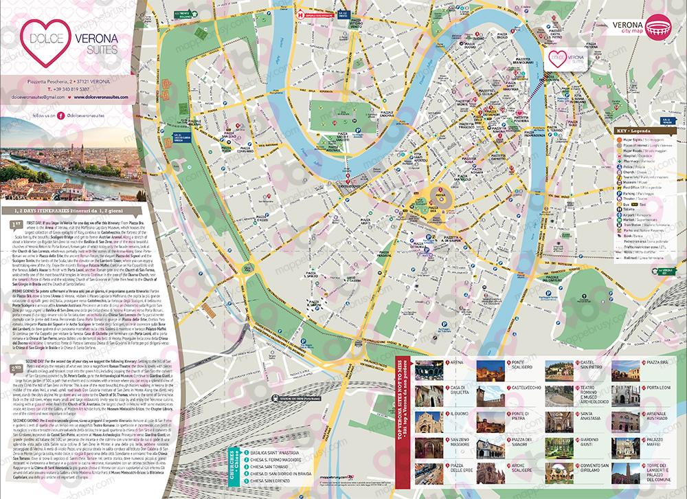 Cartina Verona.Dolce Verona Mappa Personalizzata Mappa A3 Di Verona