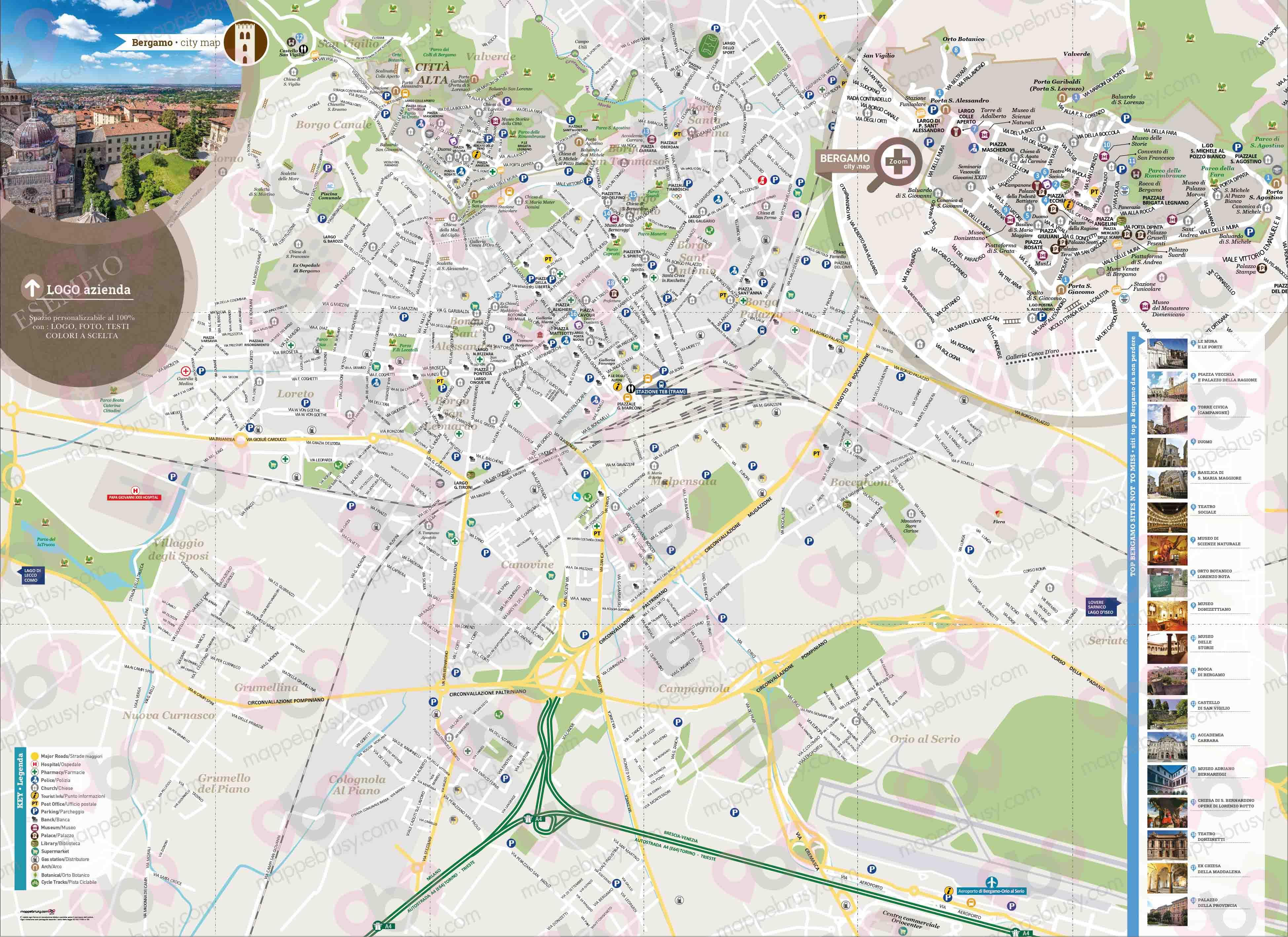 Cartina Di Firenze Con Tutte Le Vie.Mappa Di Bergamo Cartina Di Bergamo Personalizzabile