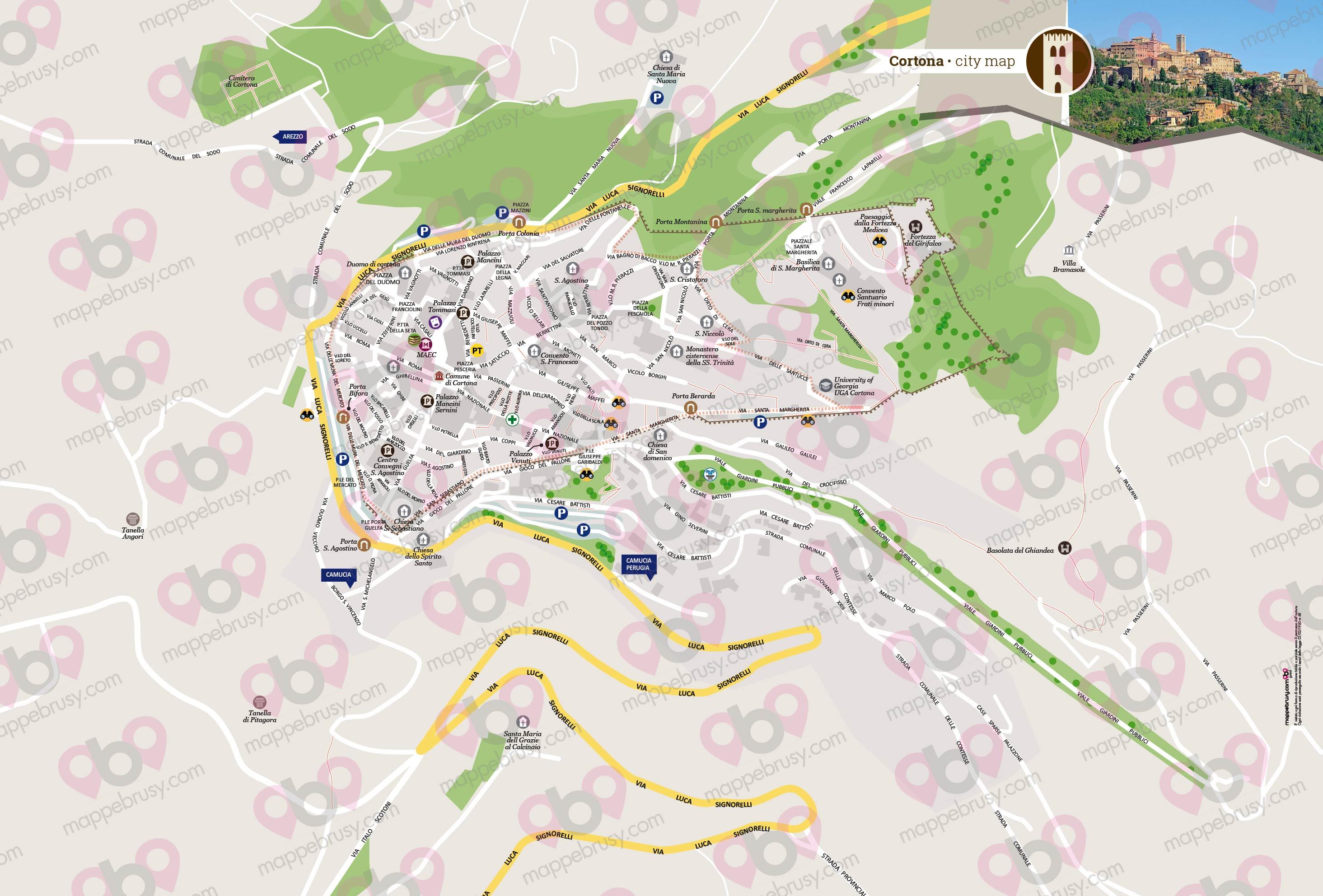 Cortona Cartina Geografica.Mappa Di Cortona Cartina Di Cortona Personalizzata