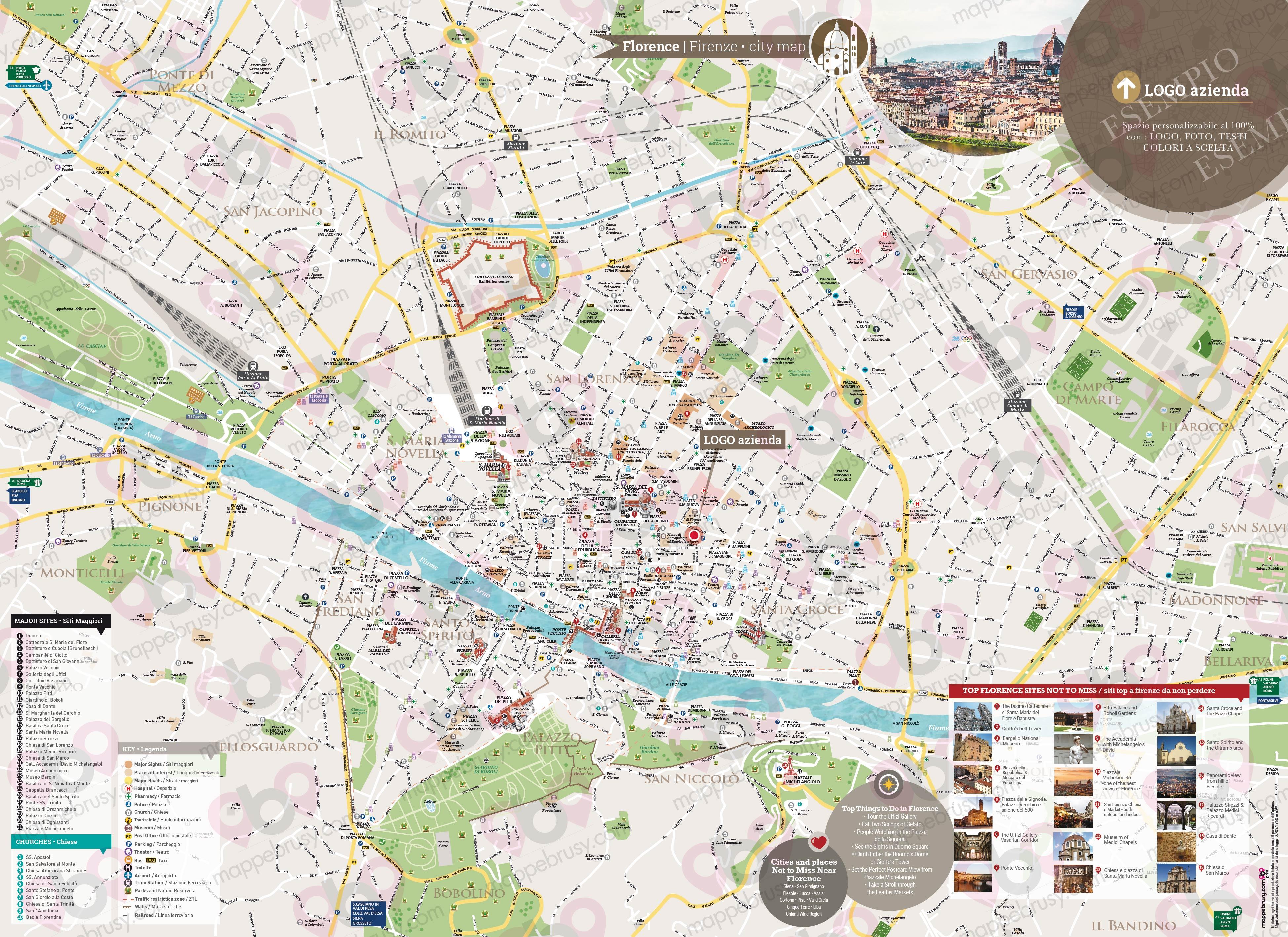 Cartina Di Firenze Con Tutte Le Vie.Mappa Di Firenze Del Centro Storico Di Firenze Personalizzata