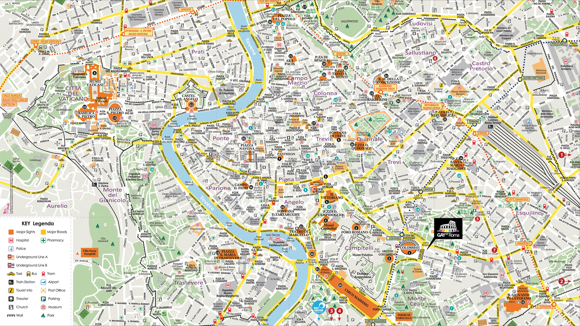 Cartina Di Roma Centro Con Monumenti.Mappa Turistica Roma Scaricabile