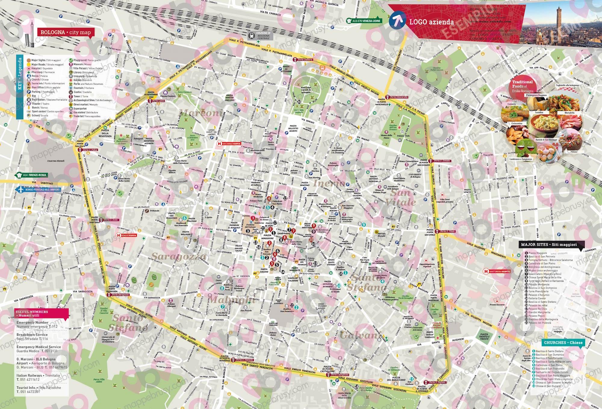 Bologna Cartina Geografica.Mappa Di Bologna Da Scaricare Cartina E Mappa Stradale Bologna Tuttocitta